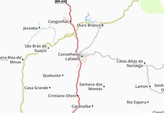 Kaart Plattegrond Conselheiro Lafaiete