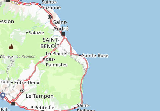 Carte De La Reunion Detaillee.Carte Detaillee Sainte Rose Plan Sainte Rose Viamichelin