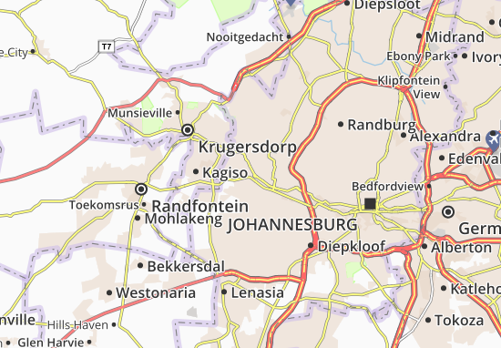 Map of Roodepoort  Michelin Roodepoort map  ViaMichelin