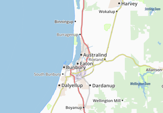 Map of Australind - Michelin Australind map - ViaMichelin