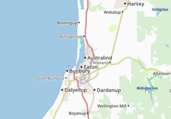 Map of Australind - Michelin Australind map - ViaMichelin