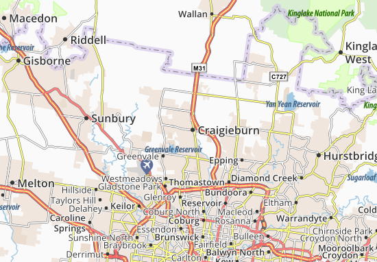 Kaart Plattegrond Craigieburn