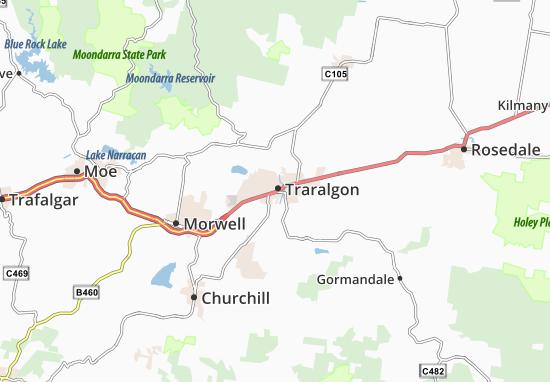 Kaart Plattegrond Traralgon