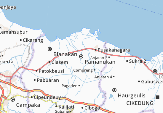 Kaart Plattegrond Pamanukan