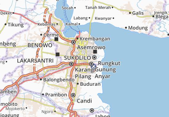 Karte Stadtplan Tenggilis Mejoyo