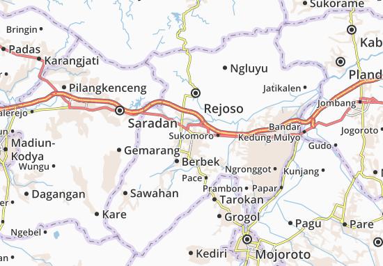 Nganjuk Map Detailed Maps For The City Of Nganjuk Viamichelin