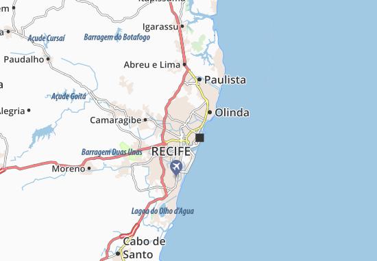 Map Of Aflitos Michelin Aflitos Map ViaMichelin - Cabo de santo agostinho map