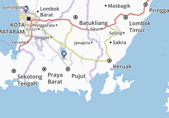 Kaart Plattegrond Praya Timur
