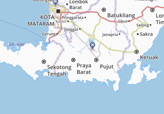 Kaart Plattegrond Praya Barat
