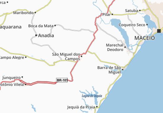 São Miguel dos Campos Map