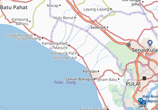 Kampung Parit Jelutong Laut Map