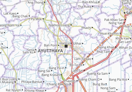 Ayutthaya Carte Thailande.Carte Detaillee Ayutthaya Plan Ayutthaya Viamichelin