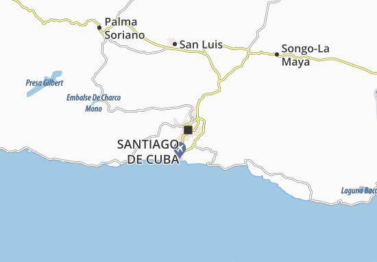 Map Of Santiago De Cuba Michelin Santiago De Cuba Map ViaMichelin - Cuba map