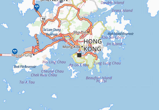 Map of Hong Kong Michelin Hong Kong map ViaMichelin – Hong Kong Tourist Attractions Map