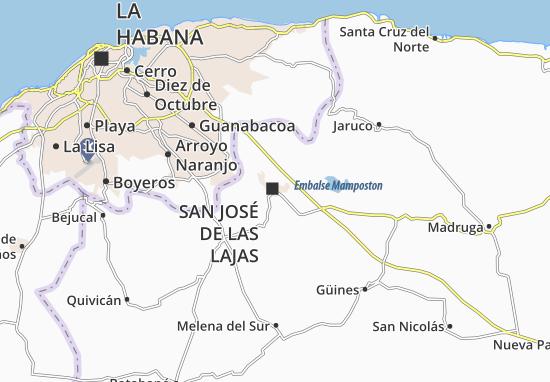 Mapa San José De Las Lajas Plano San José De Las Lajas Viamichelin