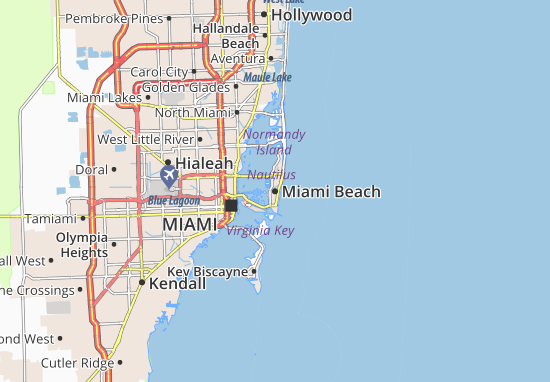 Map of Miami Beach Michelin Miami Beach map ViaMichelin – Miami Tourist Attractions Map