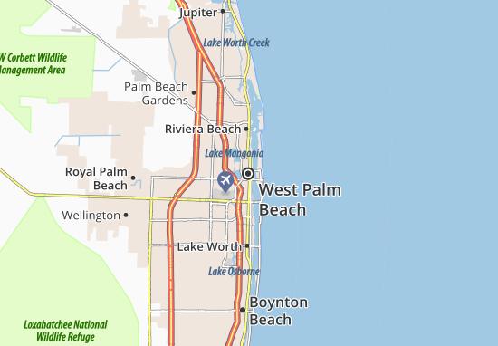 Map West Palm Beach Map of West Palm Beach   Michelin West Palm Beach map   ViaMichelin