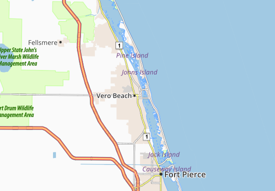 Vero Beach On Map Map of Vero Beach   Michelin Vero Beach map   ViaMichelin