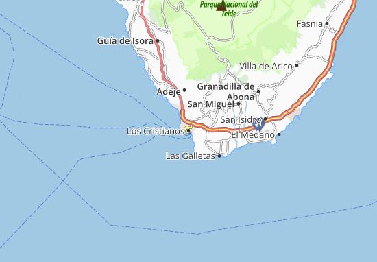 Tenerife Cartina Stradale.Mappa Michelin Los Cristianos Pinatina Di Los Cristianos Viamichelin