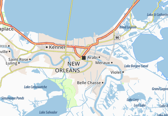 Map of New Orleans Michelin New Orleans map ViaMichelin – Tourist Attractions Map In New Orleans