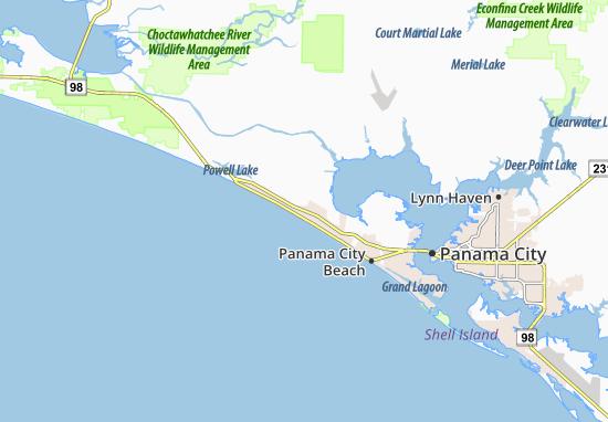 Karte, Stadtplan Panama City Beach - ViaMichelin