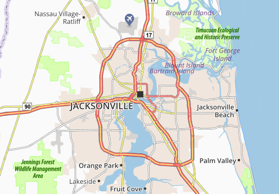 Map Of Jacksonville Michelin Jacksonville Map ViaMichelin - Jacksonville map