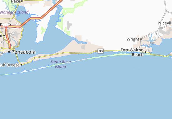 Map Of Navarre Beach Map of Navarre Beach   Michelin Navarre Beach map   ViaMichelin