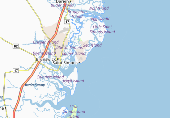 St Simons Island Map Map of Saint Simons Island   Michelin Saint Simons Island map