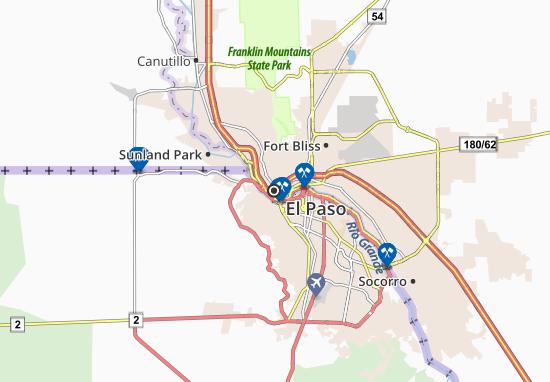 Karte, Stadtplan El Paso - ViaMichelin