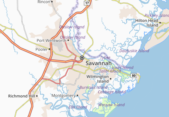 Map of Savannah Michelin Savannah map ViaMichelin – Savannah Tourist Attractions Map