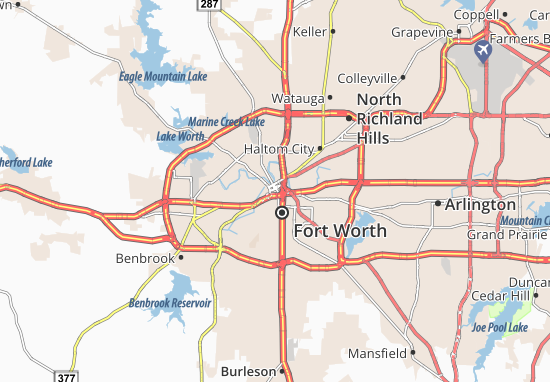 Map of Fort Worth Michelin Fort Worth map ViaMichelin – Fort Worth Tourist Attractions Map