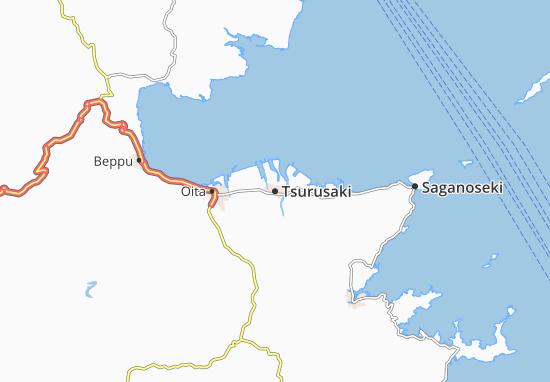Map Of Tsurusaki Michelin Tsurusaki Map ViaMichelin - Japan map beppu