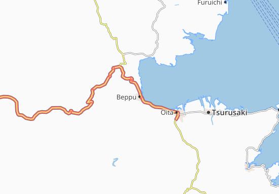 Map Of Beppu Michelin Beppu Map ViaMichelin - Japan map beppu