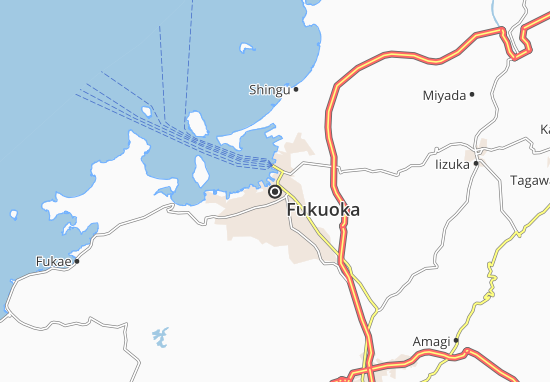 Kaart Plattegrond Fukuoka