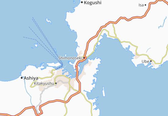 Kaart Plattegrond Shimonoseki