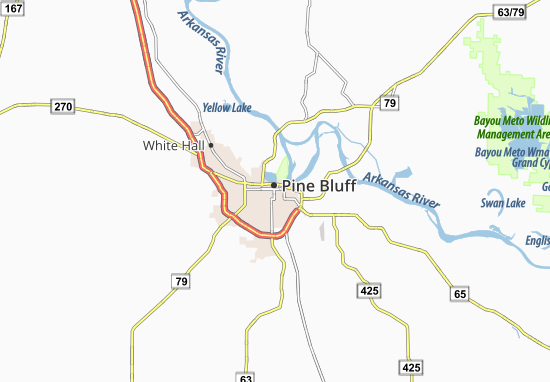 Pine Bluff Map Detailed Maps For The City Of Pine Bluff Viamichelin