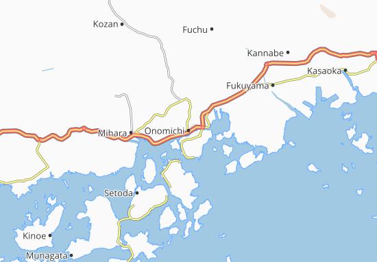 Map Of Onomichi Michelin Onomichi Map ViaMichelin - Fuchu map