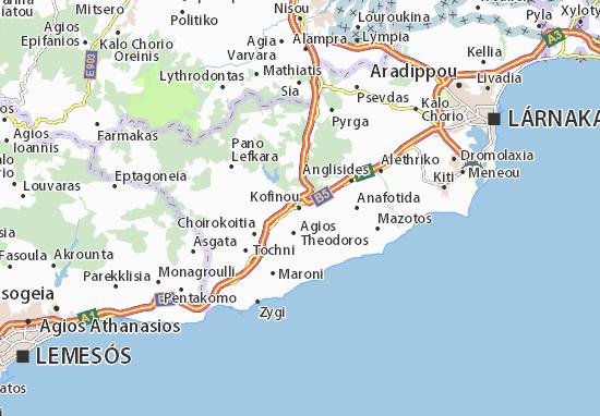 Karte Stadtplan Kofinou
