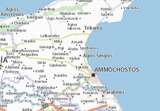 Kaart Plattegrond Agios Sergios
