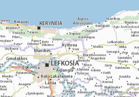 Kaart Plattegrond Kythrea
