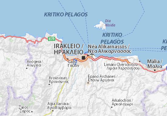 Carte Crete Heraklion.Carte Detaillee Heraklion Plan Heraklion Viamichelin