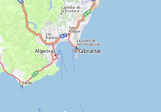 Karte Gibraltar Umgebung.Karte Stadtplan Gibraltar Viamichelin