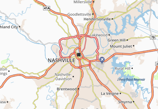 Map of Nashville Michelin Nashville map ViaMichelin – Tourist Attractions Map In Nashville