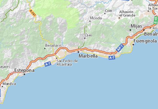 marbella kaart Kaart van Playas de Marbella  plattegrond van Playas de Marbella