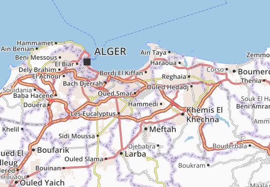 Carte Algerie El Oued.Carte Detaillee Oued Smar Plan Oued Smar Viamichelin
