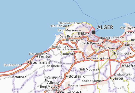 Carte Algerie Autoroute Est Ouest.Carte Detaillee Souidania Plan Souidania Viamichelin