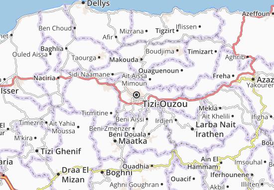Kabylie Carte Geographique.Carte Detaillee Tizi Ouzou Plan Tizi Ouzou Viamichelin