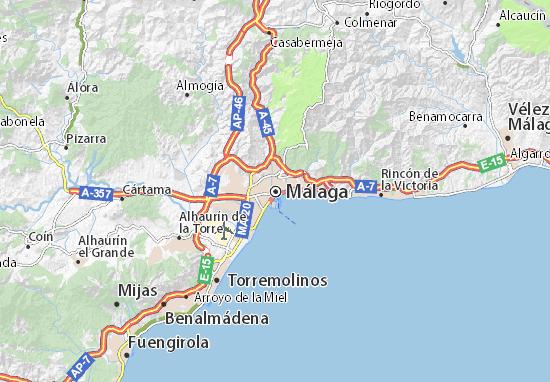 Mapa De Malaga Capital Por Barrios.Mapa Malaga Plano Malaga Viamichelin