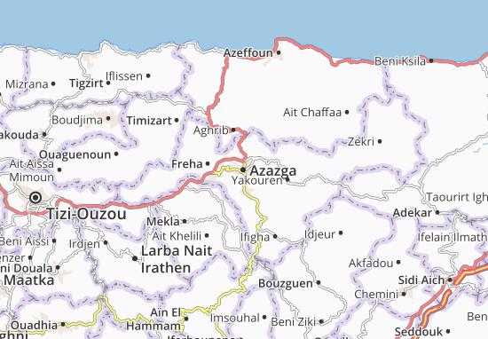 Carte Algerie Tizi Ouzou.Carte Detaillee Azazga Plan Azazga Viamichelin