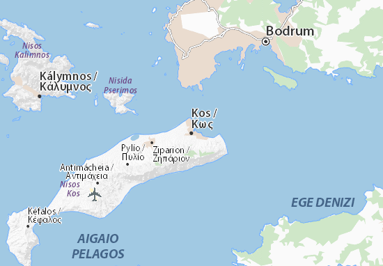 Kos Map: Detailed maps for the city of Kos - ViaMichelin